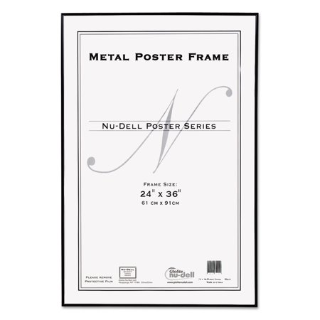 nudell metal poster frame plastic face 24 x 36 black