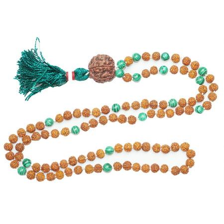 Mogul Yoga Gift Mala Green Jade Rudraksha Beads for Meditation Prayer Japamala Bracelet
