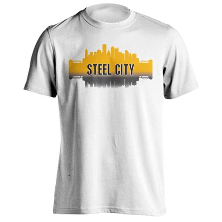 Pittsburgh Steel City Skyline Sports Team Short Sleeve T-Shirt (L, - Party City Pittsburgh