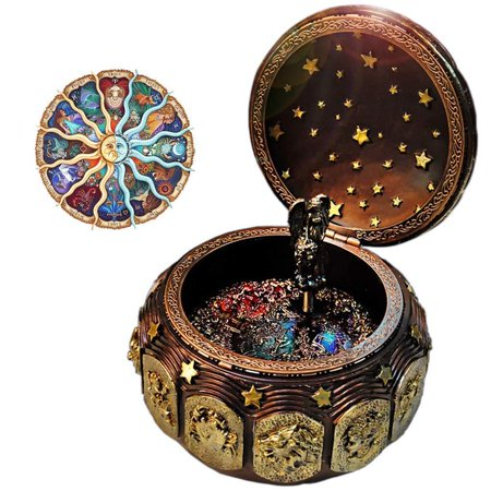 Vintage Music Box with 12 Constellations Rotating Goddess LED lights Twinkling Resin Carved Mechanism Musical Box with Sankyo 18-Note Wind Up Signs of the Zodiac Gift For Birthday Christma (Globe Music Box)