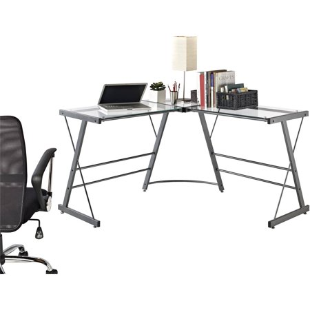 Ameriwood Home Odin L-Shaped Glass Computer Desk, Gray