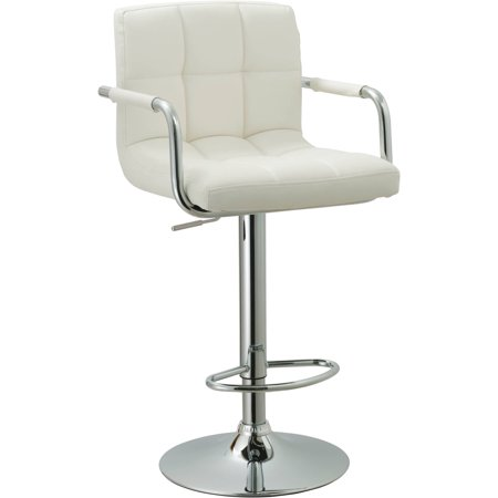 Contemporary Adjustable Swivel Arm Bar Stool with Cushion, White ()