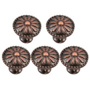 Uxcell 24mm Metal Round Dresser Knobs Pull Handle Zinc Alloy,5pcs