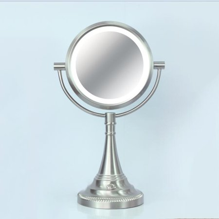 - 1X / 10X Magnification Lighted Mirror Makeup Lamp in Brushed Nickel Finish