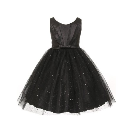 Kids Dream Little Girls Black Bodice Bow Sparkle Tulle Occasion Dress 2