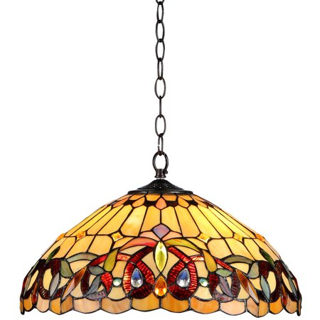 """Chloe Lighting Serenity Tiffany-Style 2-Light Victorian Ceiling Pendent Fixture with 18"""" Shade"""