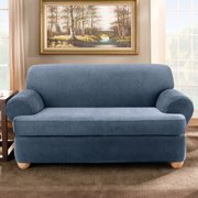 Stretch Stripe Two Piece Sofa T-Cushion Slipcover Color: Navy