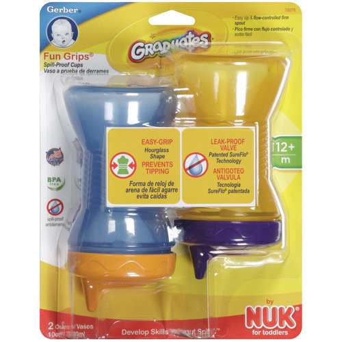 Gerber Graduates Fun Grips Hard Spout Sippy Cup in Assorted Colors, 10-Ounce, 2 cups