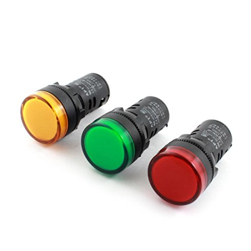 3 Pieces Yellow Green Red LED Pilot Light Panel Indicator AC 110V 20mA