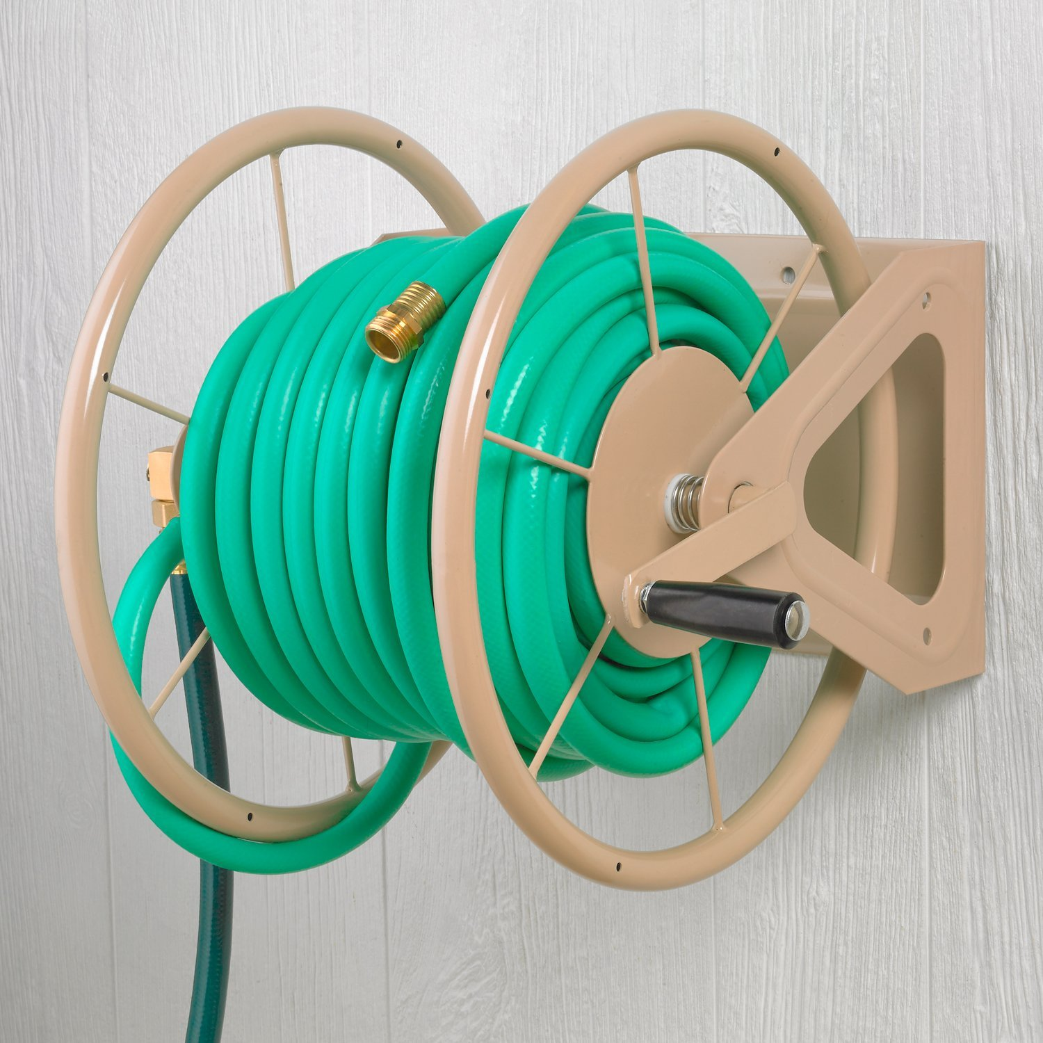 Liberty Garden Products 703 1 Multi Purpose Steel Wall And Floor Mount Garden  Hose Reel, Holds 200 Feet Of 5/8 Inch Hose   Tan   Walmart.com