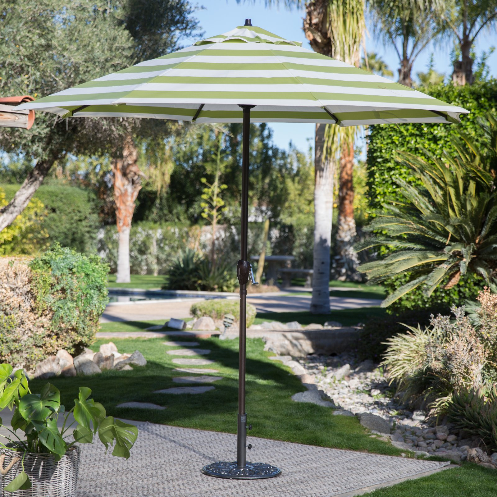 Coral Coast 9-ft. Olefin Fashion Patio Umbrella with Crank and Tilt by California Umbrella Inc