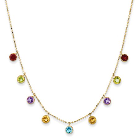 Gold Multi Color Gems (14k Yellow Gold Multi Color Gemstone Chain Necklace 2 Inch Extension Pendant Charm Gifts For Women For Her)