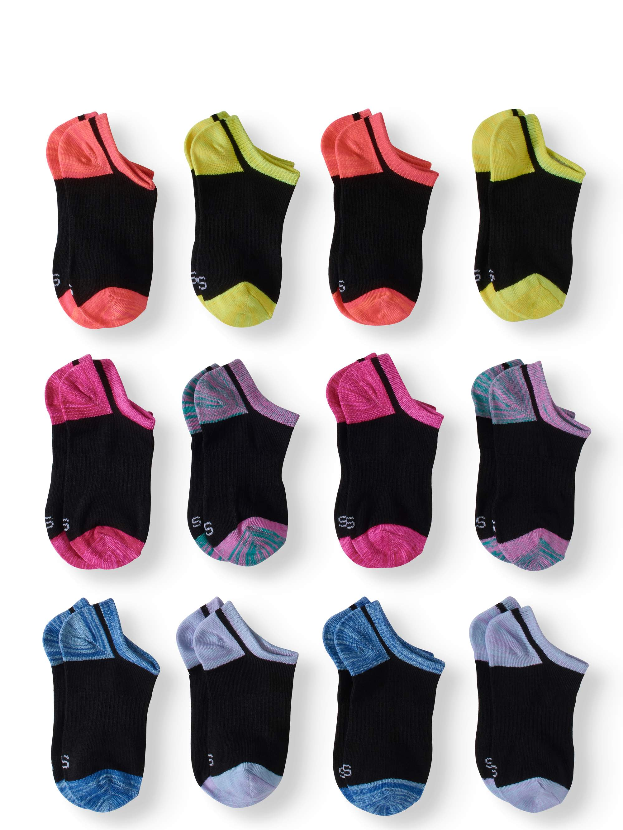 Athletic Works No Show Socks, 12 Pairs (Little Girls & Big Girls)