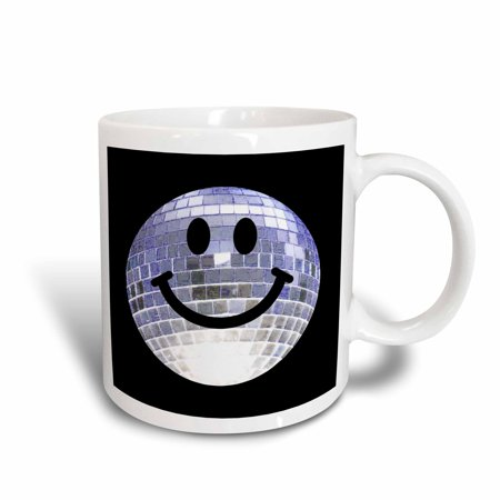 3dRose Silver Disco Ball Smiley Face - seventies 70s style Discoball Dance hall diva smilie on black, Ceramic Mug, 11-ounce](70s Disco Dances)