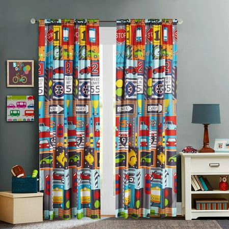 Mainstays Kids Busy Cars Boys Bedroom Curtain Panel