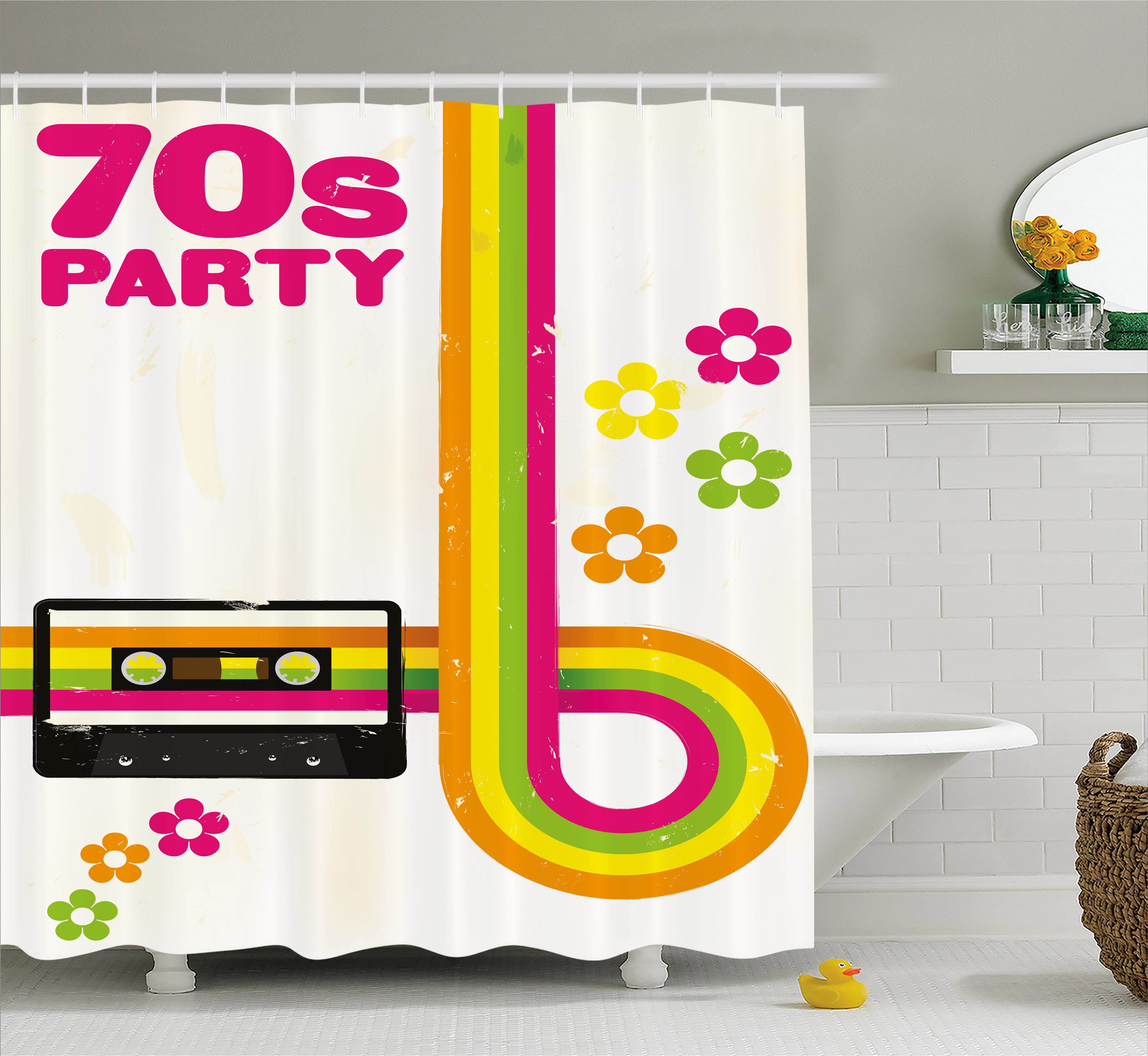70s Party Decorations Shower Curtain, Party Flyer Inspired Cute Curved Stripes Daisies Audio Cassette Tape, Fabric Bathroom Set with Hooks, 69W X 84L Inches Extra Long, Multicolor, by Ambesonne