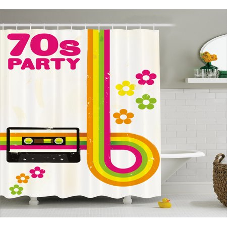 70s Party Decorations Shower Curtain, Party Flyer Inspired Cute Curved Stripes Daisies Audio Cassette Tape, Fabric Bathroom Set with Hooks, 69W X 70L Inches, Multicolor, by (70s Inspired)