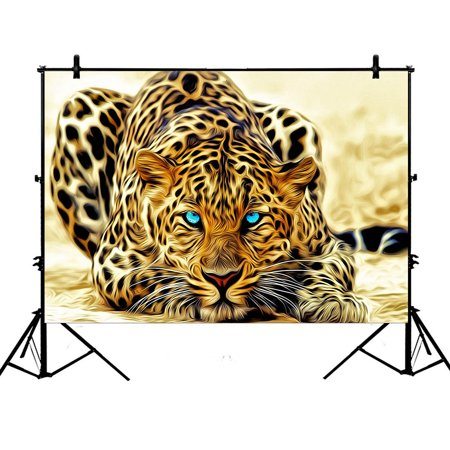 Leopard Photo - GCKG 7x5ft Special Effect Leopard With Authentical Blue Eyes Wild Animal Print Polyester Photography Backdrop Studio Photo Props Background