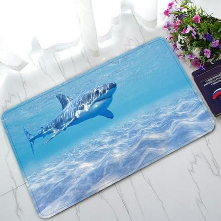 PHFZK Underwater World Doormat, Great White Shark in the Ocean Doormat Outdoors/Indoor Doormat Home Floor Mats Rugs Size 30x18 inches (Great Dane Doormat)