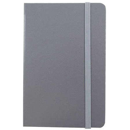 JAM Paper Hardcover Notebook with Elastic Band, Large, 5 7/8 x 8 1/2 Journal, Grey, 100 Lined Sheets, Sold Individually