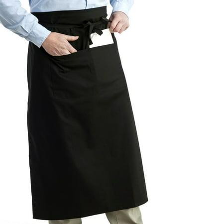 72*70cm Universal Unisex Women Men Kitchen Cooking Waist Apron Short Apron Waiter Apron with Double Pockets (Black)