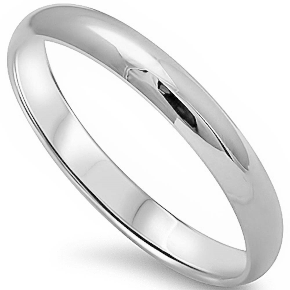 Round Plain Solid Wedding Band 3 Mm .925 Sterling Silver Ring Sizes 2-13