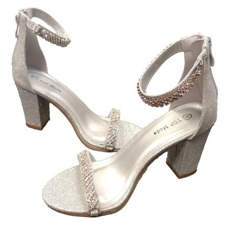 72c2a054d4d Top Moda - Top Moda Women s Hannah 16 Silver Glitter Double Rhinestone  Strap Evening Heel Size  8 M - Walmart.com