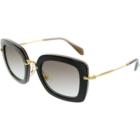 'Miu Miu Women's Gradient MU07OS-KAY0A7-52 Black Rectangle Sunglasses