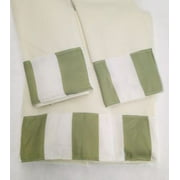 Elegant Design 3 Piece Decorative Bath Hand Towel Set Bathroom Wash Cloth Stripes Green