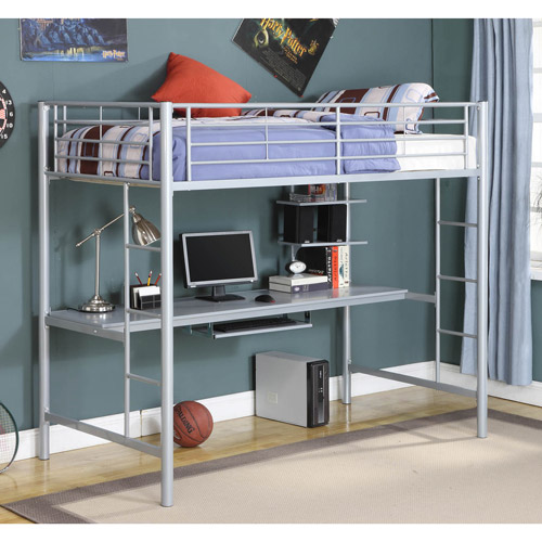 Walker Edison Metal Twin Loft Bed with Workstation - Silver