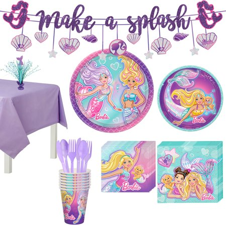 Barbie Party Plates (Party City Iridescent Barbie Mermaid Birthday Party Supplies for 8 Guests, Include Plates, Napkins, and)