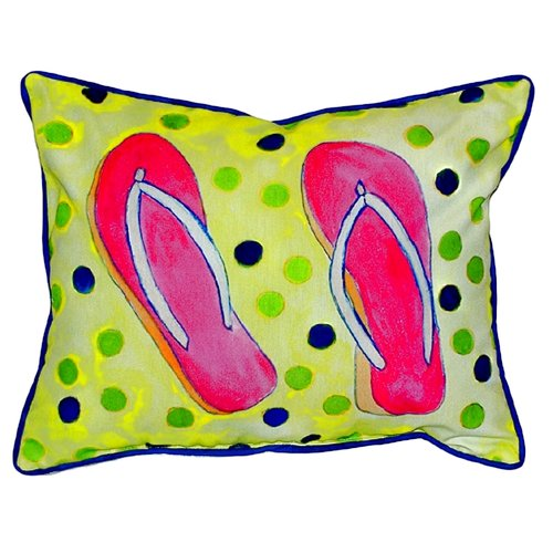 Betsy Drake Interiors Coastal Flip Flops Indoor/Outdoor Lumbar Pillow