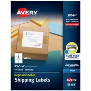 "Avery Repositionable Labels, Sure Feed, 3-1/3""x4"", 150 Labels (58164)"