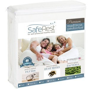 SafeRest Premium Hypoallergenic Waterproof Mattress Protector - Vinyl Free, Multiple Sizes
