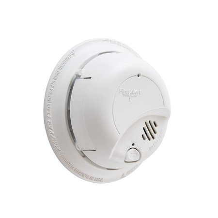 BRK 9120BFF Hardwired Smoke Alarm with Battery Backup, Single, Tamper resistant locking pins, single button silence/test and loud 85dB alarm By First Alert