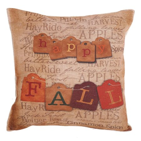 Square Shaped Cotton Linen Pillowcase With Happy Fall Pattern Printing Decorative Pillowslip