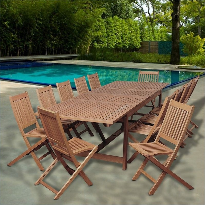 Barrett 13-Piece-Piece Eucalyptus Extendable Rectangular Patio Dining Set