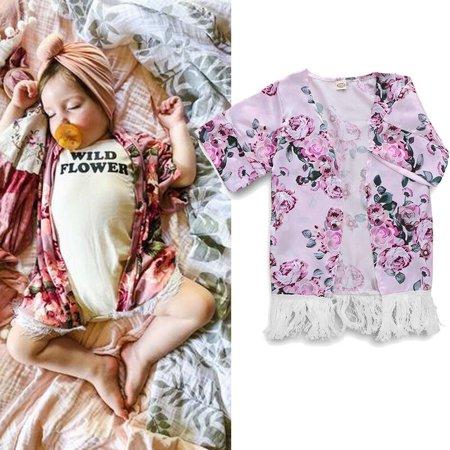 The Noble Collection Toddler Kids Girl Kimono Jacket Cardigan Floral Tassel Outwear Loose Tops Beach Summer](Kimono Child)