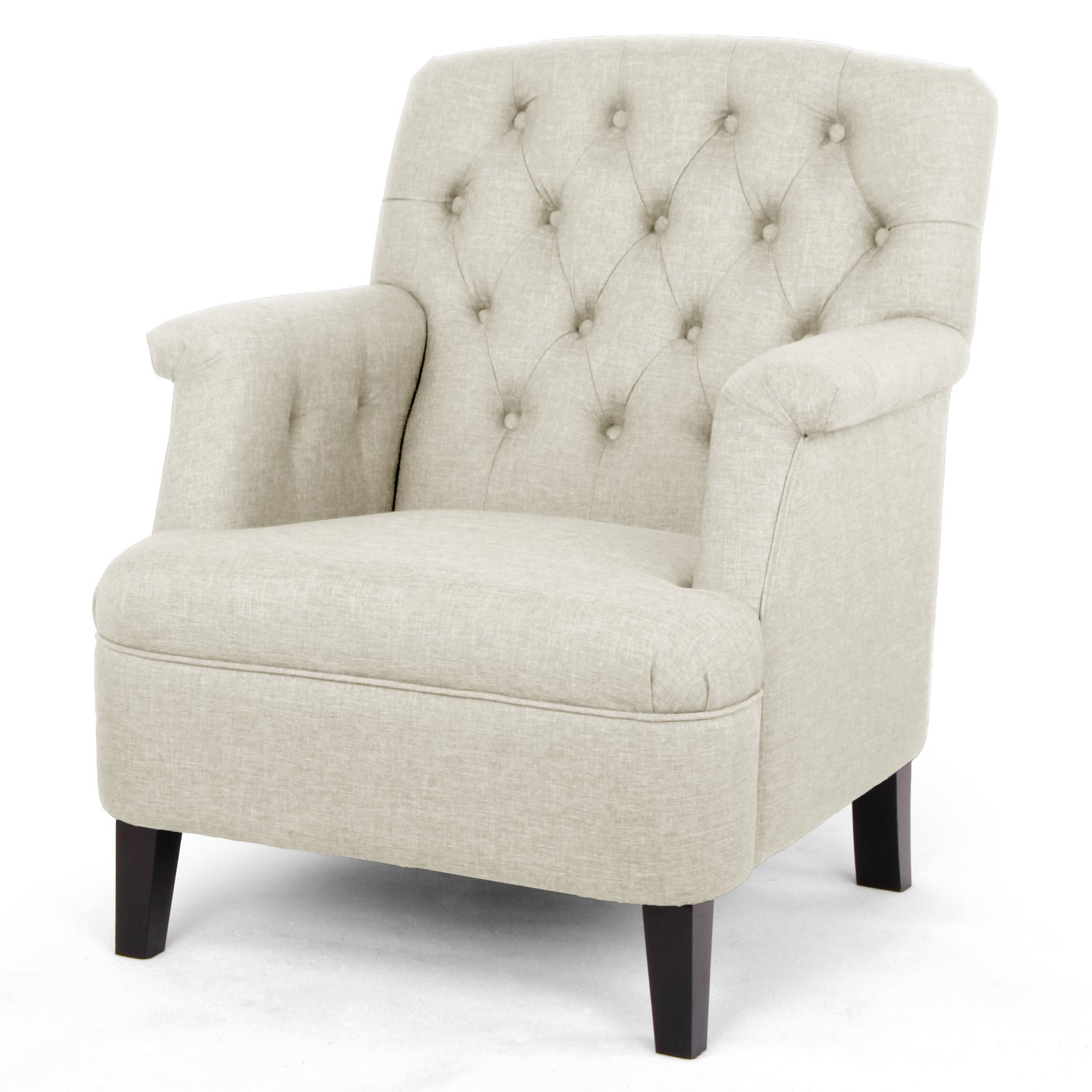 Baxton Studio Jester Classic Retro Modern Contemporary Beige Fabric Upholstered Button-Tufted Armchair by Wholesale Interiors