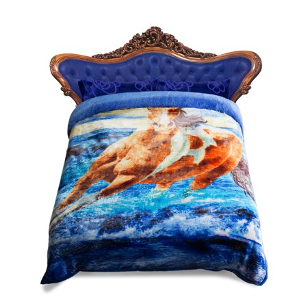 "Soft Plush Warm Bed Blanket With 2 Pillow Covers(20""x30""),3 Piece Thick Warm Bedspread For Winter 85""x93"",10lb Blue Horse Printed"