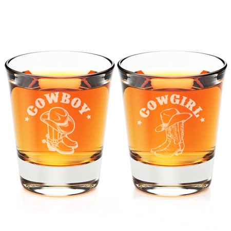 Cowboy  and Cowgirl Engraved Fluted Shot Glass](Cowboy Boot Shot Glasses In Bulk)