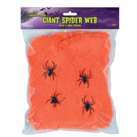 Fr Giant Orange Spider Web Webbing Scary Halloween Haunted House Decoration