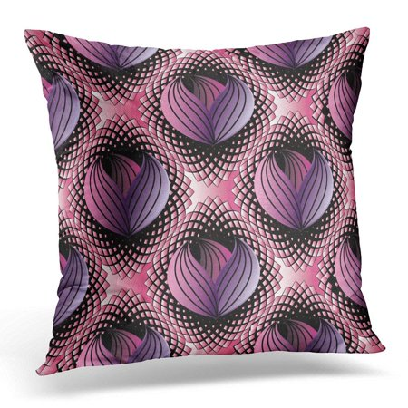 ARHOME Abstract Modern Floral Black Pink Halftone with 3D Line Tracery Striped Purple Violet Flowers Pillow Cover 16x16 Inches Throw Pillow Case Cushion Cover