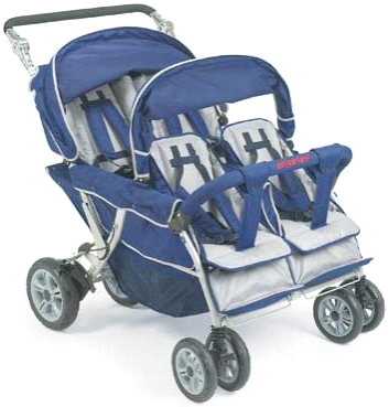 Angeles Group Surestop 4 Quad Passenger Folding Daycare Commercial Bye Bye Stroller