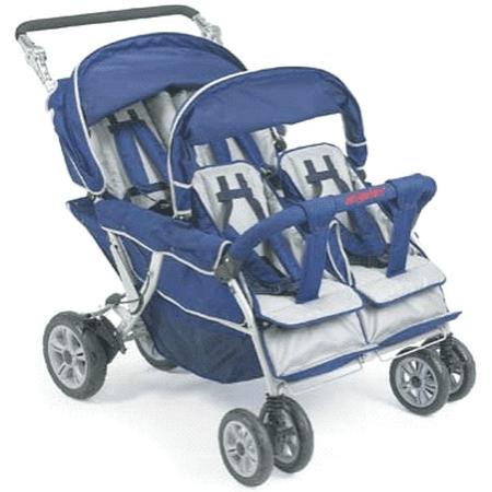 Angeles Surestop 4 Quad Passenger Folding Daycare Commercial Bye Bye - 4 Passenger Commercial Stroller
