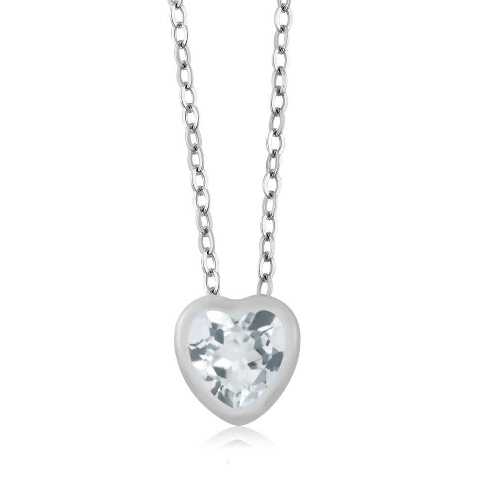 "0.67 Ct Heart Shape Sky Blue Aquamarine 10K White Gold Pendant with 18"" Chain"