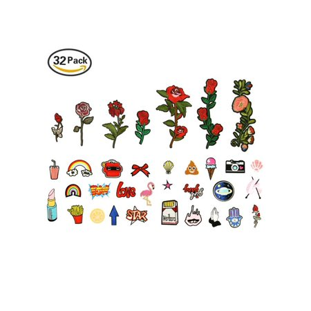 ARTISTORE Iron On Patches 31pcs Assorted Size Rose Cartoon Embroidered Motif Applique Decoration Patches DIY Sew on Patch for Jeans Clothing Denim - Sewing Appliques
