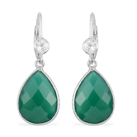 925 Sterling Silver Pear Green Onyx White Topaz Dangle Drop Earrings Jewelry