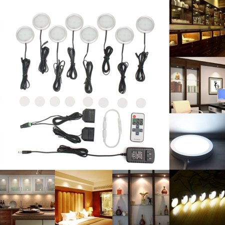 8Pcs Kitchen Counter Under Cabinet White LED Light Puck Wireless Remote Dimmer