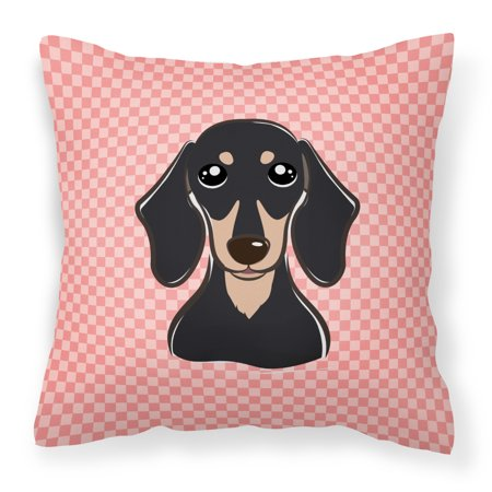 Checkerboard Pink Smooth Black and Tan Dachshund Fabric Decorative Pillow ()